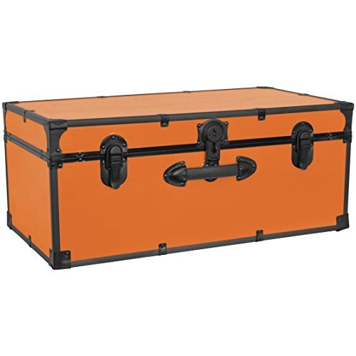 Seward Trunk [SWD5116-30] - 30 Inches Barracks Footlocker Trunk, Orange (Footlocker Trunk)