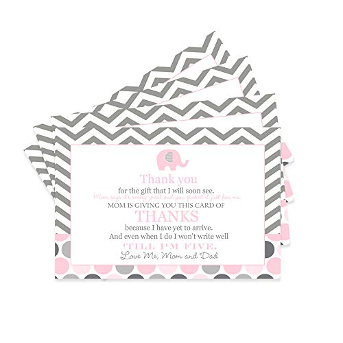 Pink Elephant Baby Shower Thank You Postcard - 15 Cards Only