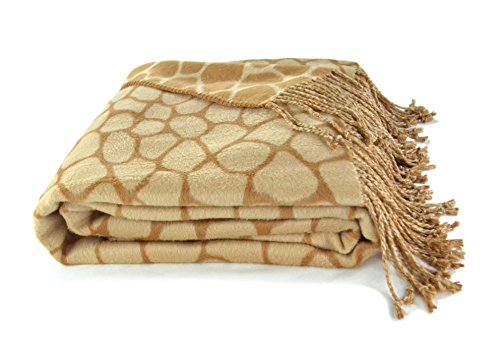 Animal pattern Jacquard Throw made from Bamboo Rayon - Giraffe