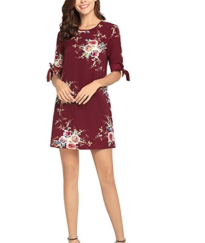 Mousseline de Robe en Florale Manchette imprim Soie Weekendy As Rond Shown Jupe Sangle col Jupe Robe Manchette Mode wzfqEv