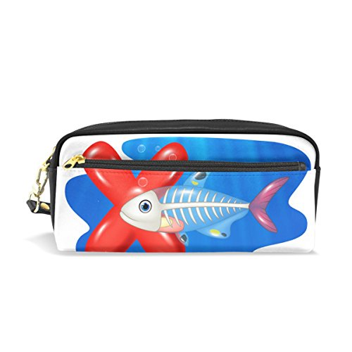 imobaby Alphabet X Cute X-Ray Fish Portable Pouch PU Leather School Pen Case Stationary Pencil Bags for Kids Children Waterproof Cosmetic Bag Makeup Beauty Case