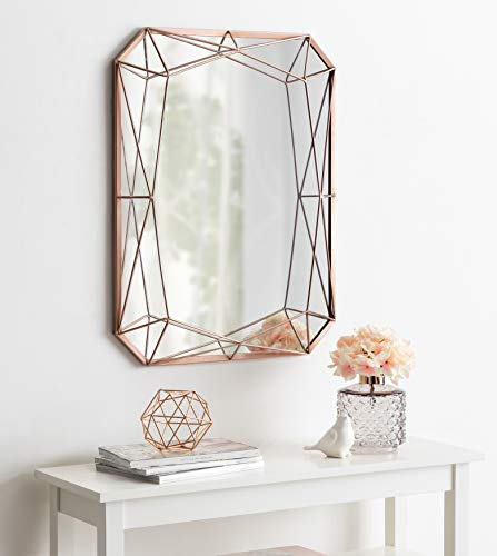 Kate and Laurel Keyleigh Rectangle Metal Framed Accent Wall Mirror, 22x28, Rose Gold