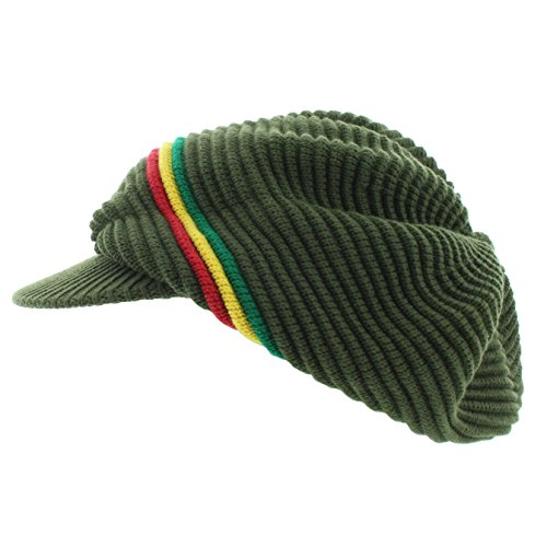 (Milani Rasta Ribbed and Slouchy Beanie Visor Cap Woven Hat w/Red Yellow Green Stripe)