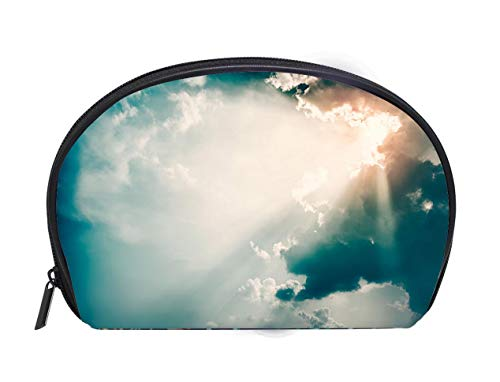 (Custom design Portable Toiletry Cosmetic Bag Dramatic Sky and Sun Rays Background Toned Photo Ladies Travel Convenience Small Wash Bag Storage Bag)