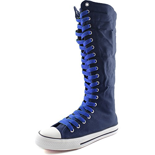 DailyShoes Womens Canvas Mid Calf Tall Boots Casual Sneaker Punk Flat, Royal Blue Navy Blue Boots, Royal Blue Lace