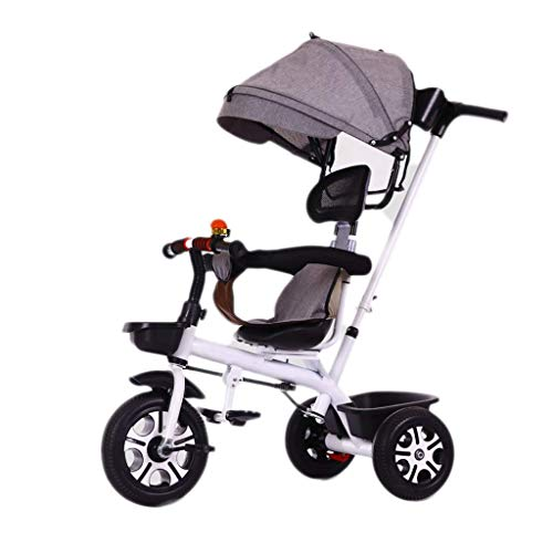 Tricycle, Adjustable Hand Push Rod Child 3-in-1 Multi-Function Tricycle with Awning, 2-6 Year Old Baby Outdoor Tricycle Foam Wheel, 5 Colors, 70x55x46cm (Color : White)