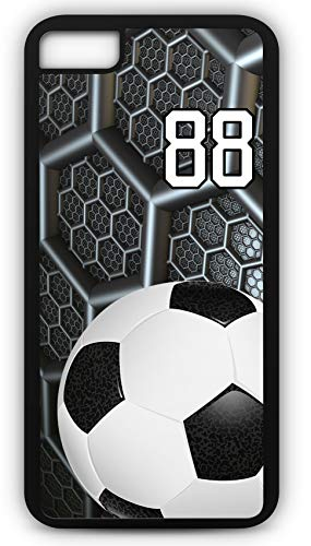 iPhone 7 Plus 7+ Phone Case Soccer SC038Z by TYD Designs in Black Rubber Choose Your Own Or Player Jersey Number 88 - Crusader Foot