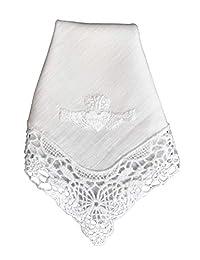 Thomas Ferguson Irish Linen - Ladies' Claddagh Lace Corner Handkerchief, BH173, White