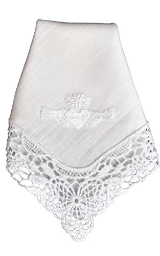 - Thomas Ferguson Irish Linen - Ladies' Claddagh Lace Corner Handkerchief, BH173, White