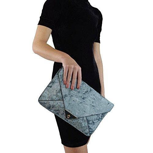 Essex Glam Women's Grey Velvet Evening Envelope Clutch Bag Handbag