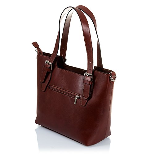 Finish Tote nbsp;x Italian Vera Bag nbsp;x Exclusive Firenze nbsp;cm Brown Made Tamponato Leather Women's Shoulder 37 10 Genuine Pelle Design Colour Italy In Women Artegiani 25 EqTT1w8