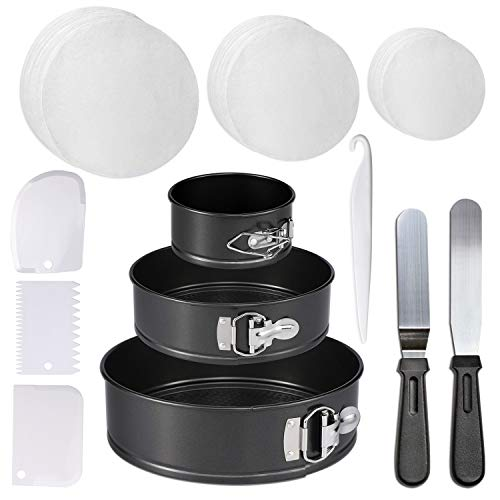 (Springform Cake Pan - Non-stick Round Bakeware Cake Pan with 150 Piece Parchment Paper Liners for Home Baking)