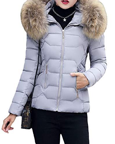Howme-Women Thick Hood Short Mini Stylish Warm Lightweight Zip Down Coat Pattern1