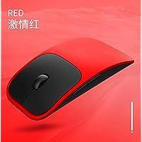 BeesClover AI - Mouse óptico inalámbrico Recargable para computadora portátil (Ultrafino), Rojo