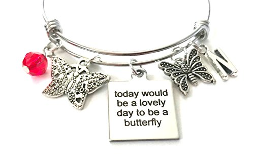 Antique Butterfly Bracelet - Butterfly quote / Butterflies themed personalized bangle bracelet. Antique silver charms and a genuine Swarovski birthstone colored element.