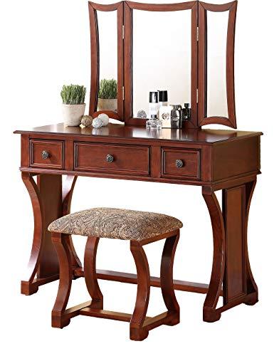 Poundex Bobkona Edna Vanity Set with Stool, Cherry (Vanity Home Set Depot)