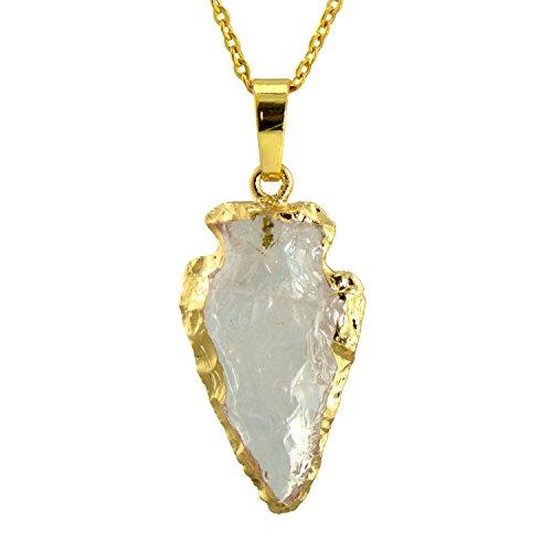 Paialco Natural White Quartz Gemstone Rock Healing Crystal Arrow Shape Pendant -