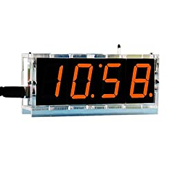 DIY Digital Clock Kit 4 Digit LED Electronic Clock Kit Large Screen with Transparent Case LED Red