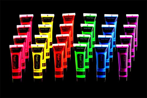 Glow in The Dark Body Paint UV Black Light Paint -24 Tubes/Box- Neon Face Paint in The Dark - Halloween Face & Body Paint