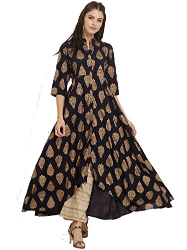 Dream Angel Fashion Women Dress Kurti Bollywood Designer Printed Anarkali Suit Kurta Ready to Wear (X-Large-40, Blue)