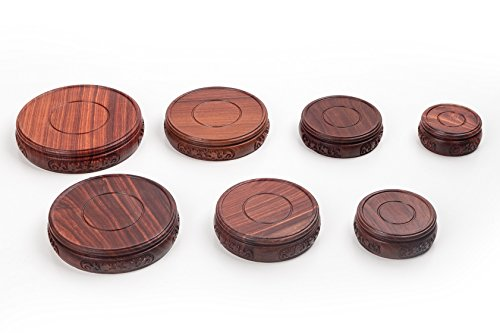 Round-3 Rosewood Stand (XL 9.5cm (inner diameter) 2.5cm Height) Oriental Furniture Rosewood Wooden Display Stand Pedestal For Vase Jar Round Shape With Carved