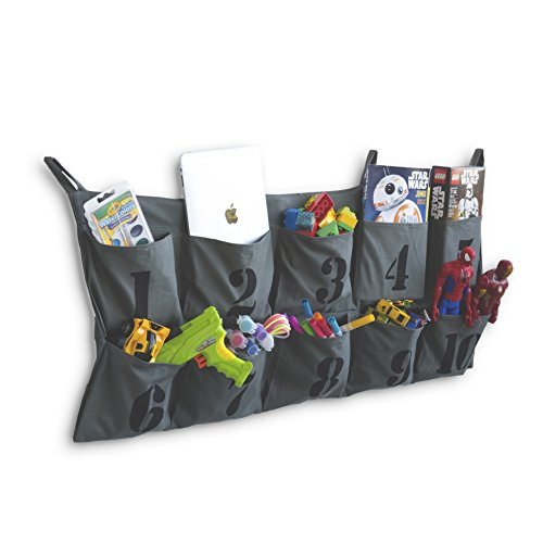 Tasca Canvas Hanging Wall Organizer with Number Printed Pockets Organizational Kid's Room Storage for Ipad Books Toys Kid's