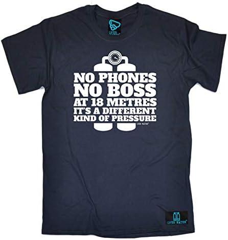 No Phones No Boss At 18 Met Scuba Diving T-Shirt Funny Novelty Mens tee TShirt