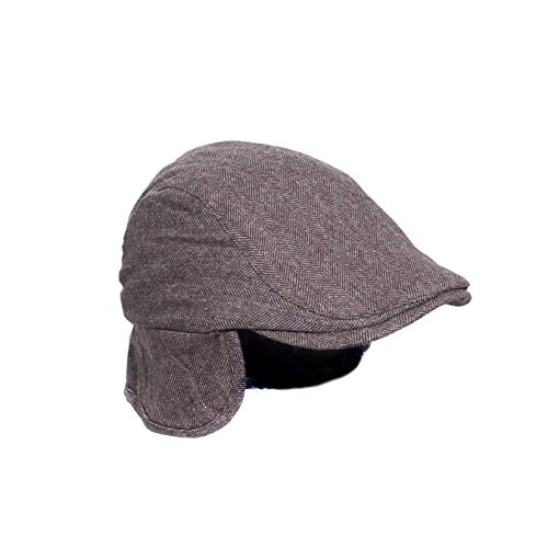 mens-l-xl-brown-ivy-flat-cap-classic-herringbone-cabbie-hat-w-ear-neck-flap
