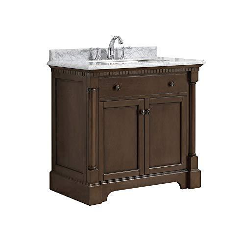 36' Antique Wood Bathroom Vanity - Ove Decors Claudia 36 Antique Coffee Freestanding Vanity, 36'',