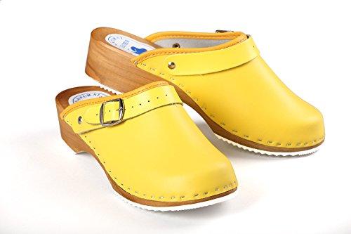 CLOGS Pantolette Sandalette Holz + Leder GELB Gelb
