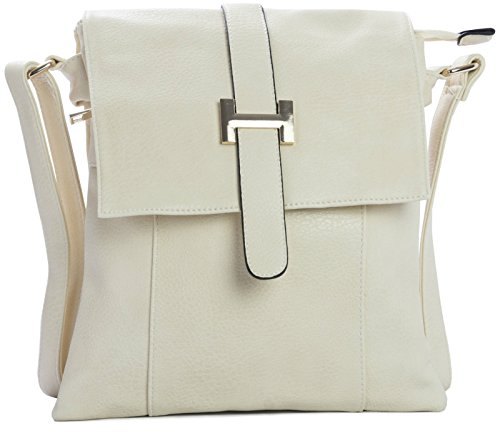 Big Handbag Shop Womens Medium Vegan Multipockets Messenger Crossbody Shoulder Bag Design 1 - Cream