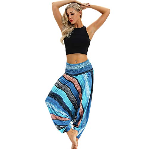 Pants Trousers Baggy Pants Polyester Light Waist Bohemian Women Harem Jumpsuit Elastic Yoga Casual Blue6 Xmiral Aladdin 05qUOYxw5