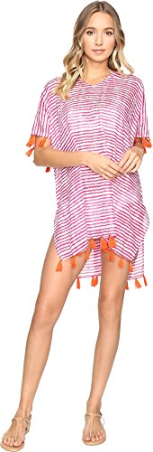 Hat Attack Cotton Hat (Hat Attack Women's Tassel Cover-Up Blurry Stripe Pink Swimsuit)