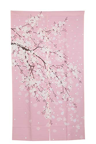 - I-MART Cherry Blossom Japanese Noren Doorway Curtain, 59 inches X33.5 inches