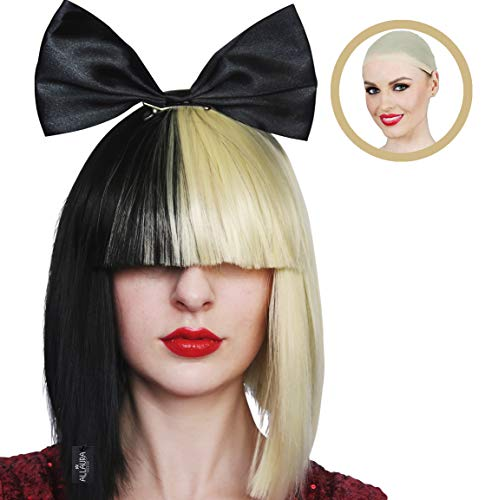 Black and Blonde Long Bob Wig with Large Black Bow Cosplay Costume