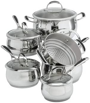 Amazon Com Lagostina Padova 11 Pc Stainless Steel Cookware Set Kitchen Dining