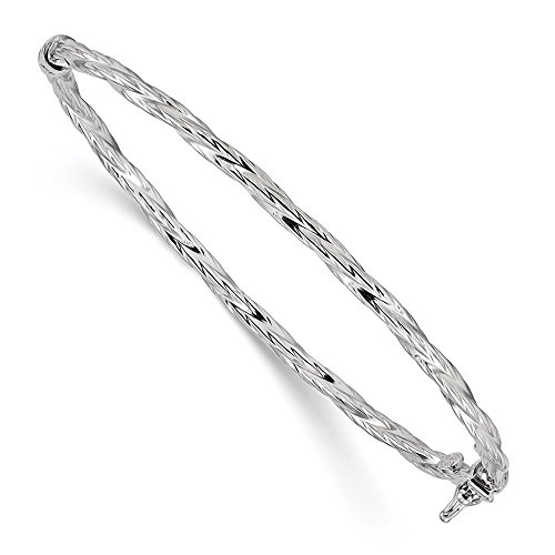 (FB Jewels Solid 925 Sterling Silver Rhodium-Plated Polished Textured Twisted Hinged Bangle)