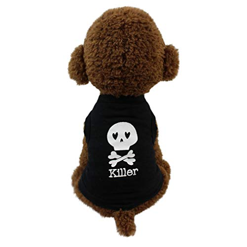 Dog T-Shirt Clothes,Pet Vest Summer Costume Skull Pattern Printed Cute Tank Top for Small Dogs Cats (M, Black) -