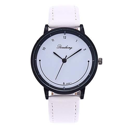 Wintefei Simple Women Smile Dial Arabic Numerals Faux Leather Analog Quartz Wrist Watch - ()