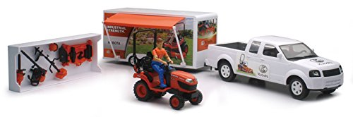 Newray Kubota White Pickup Truck with Trailer and Lawn Mower 1/20 Scale Playset