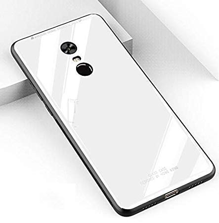JewelZilla Soft TPU Frame with Glass Back Cover for MI Redmi Note 4   White Cases   Covers