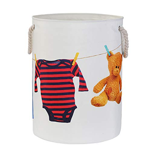 Color Laundry Basket (Double Fabric 40L), Collapsible Fabric Laundry Hamper, Foldable Clothes Bag, Folding Washing Bin, Cartoon Pictures