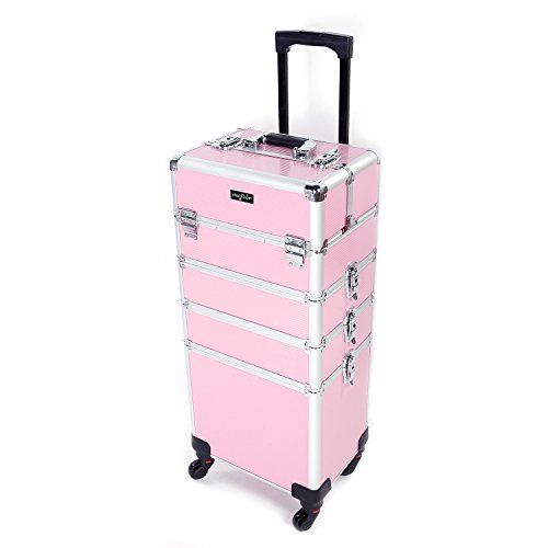 Mefeir 4-in-1 Rolling Train Case Lift Handle,4 Removable Wheels+8 Keys,Aluminum Makeup Cosmetic Trolley Beauty Artist Organizer Box (Rolling Makeup Case)