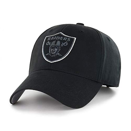 MISC Black NFL Oakland Raiders Cap Sports Football Hat Team Logo Athletic Games Baseball Cap Hat for Boys Kids Unisex Fan Gift Adjustable Strap Closure Embroidery Design Quality Cotton Fabric
