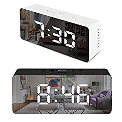 8th team( Rectangle/Square Mirrored Alarm Clock, Led Battery Operated, Adjustable Snooze Portable Mirror Night Light, USB Digital Bedside Table Clock for Kids, Girls, Bedroom (Rectangle)