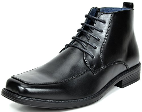 Faux Leather Shoes (BRUNO MARC MODA ITALY YORK-1 Men's Classic Dress Casual Faux Leather Lace Up/Zip up Square Toe Ankle High Boots BLACK SIZE)