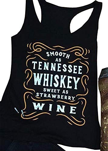 MOMOER Smooth As Tennessee Whiskey Tank Tops Womens Summer Letter Sleeveless Beach Vacation Vest Tops (Black, ()