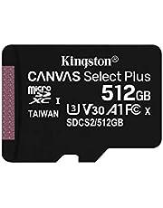 بطاقة ذاكرة ميكرو اس دي مع محول كانفاس سيلكت بلس من كينجستون micSDXC - 512 جيجابايت