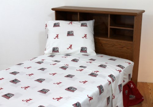 - College Covers NCAA Alabama Tide White Sheet Set, Twin XL (80