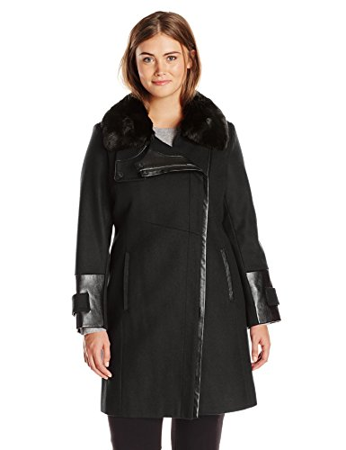Via Spiga Women's Plus-Size Wool Coat With Faux Fur Collar, Black, (Funnel Collar Coat)